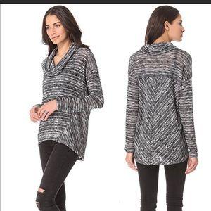 Splendid Slub Cowl Neck Black White Sweater Medium